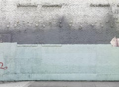 Shades of Pale - abstract photograph of painterly details of blue toned wall