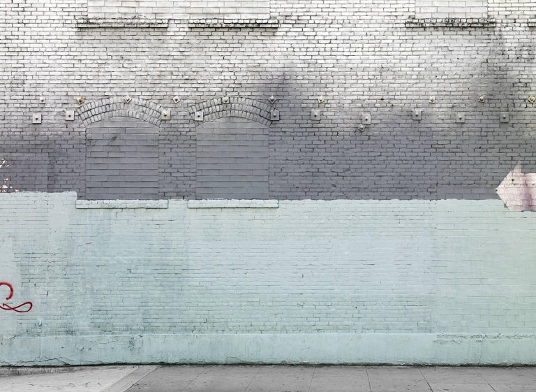 Frank Schott Abstract Print - Shades of Pale - abstract photograph of painterly details of blue toned wall