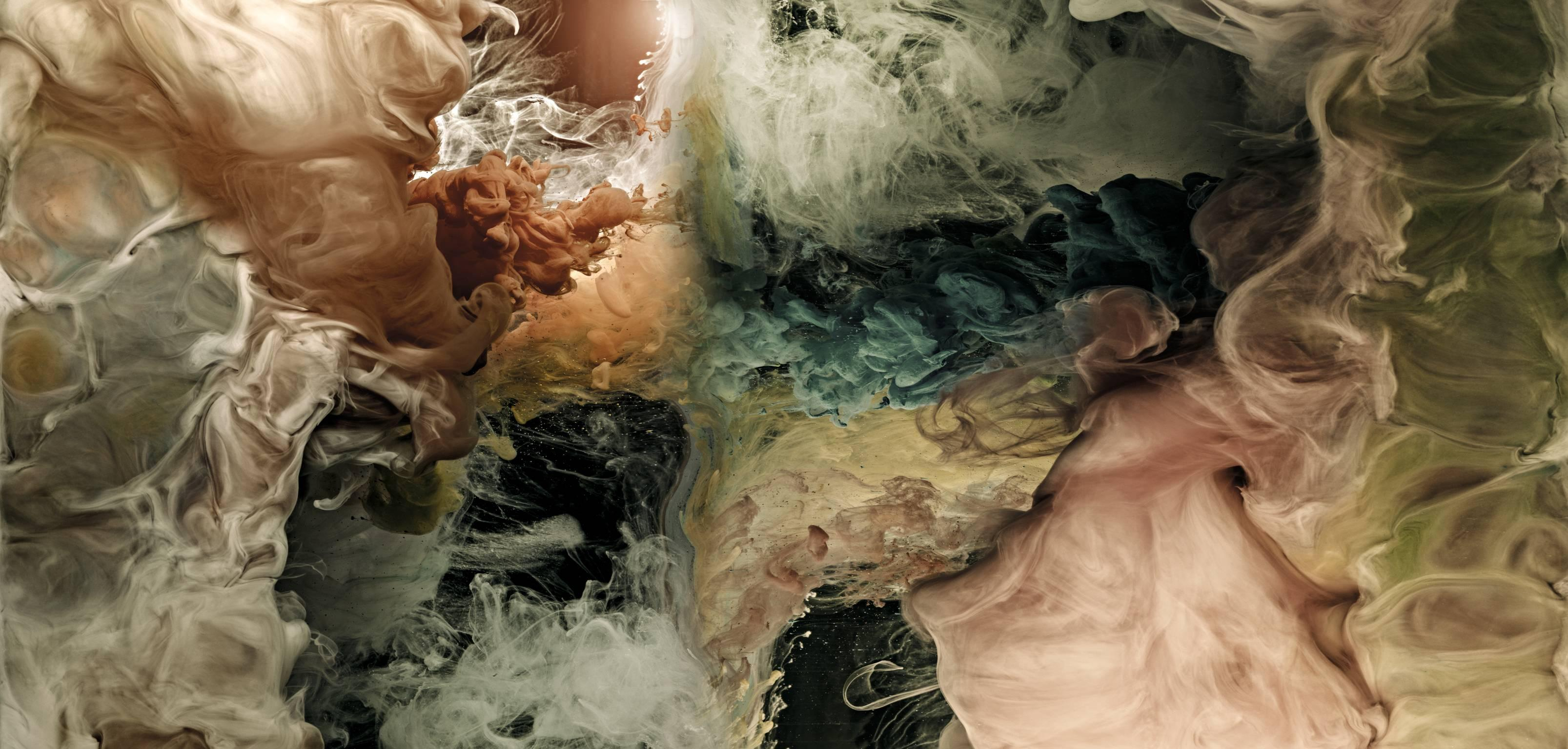 Hemisphere IV - large format photograph of abstract liquid cloudscapes in water