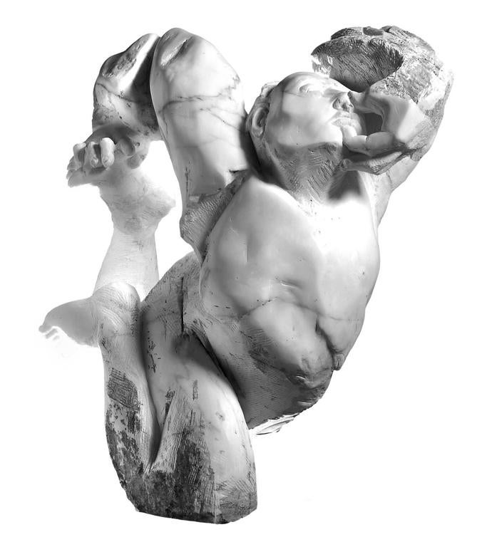 Contorsionista - hand carved Italian marble sculpture - Gray Figurative Sculpture by Lorenzo Vignoli