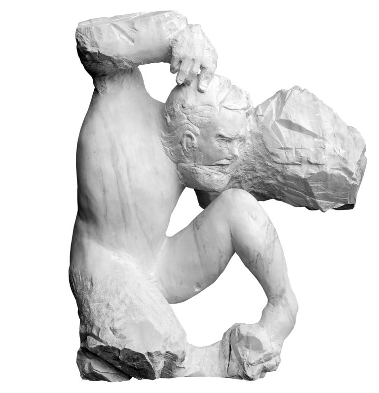 Lorenzo Vignoli Abstract Sculpture - Dove Vado - hand carved figurative Carrara marble sculpture