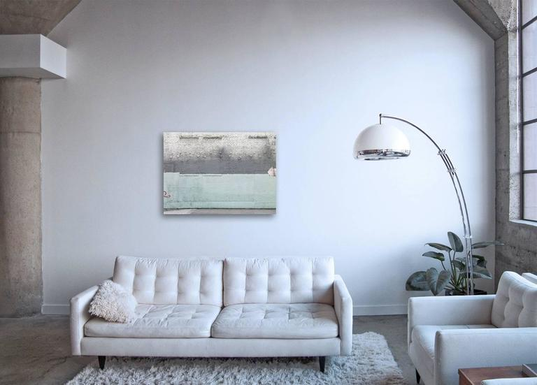 Shades of Pale - abstract photograph of painterly details of blue toned wall - Contemporary Print by Frank Schott