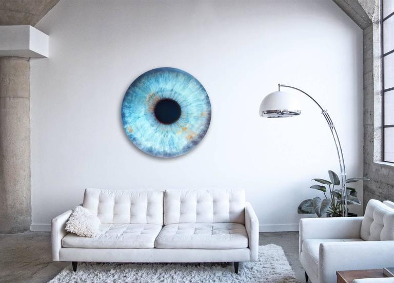 IRIS llI  - unique abstraction of colors in circular glass frame (45