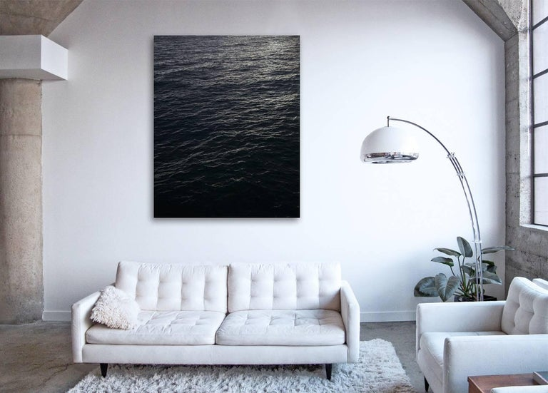 Seascape V - large format photograph of monochromatic black white water surface - Print by Frank Schott
