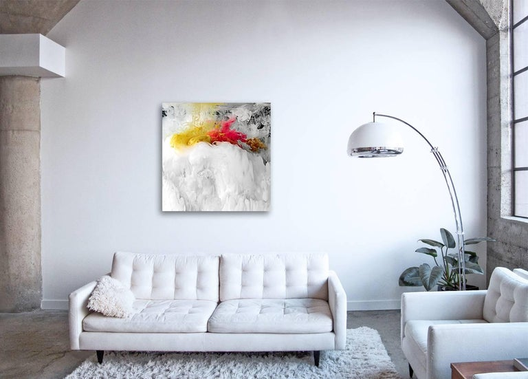 FLOW I  - large format photograph of abstract liquid water cloudscapes - Beige Abstract Print by Christian Stoll