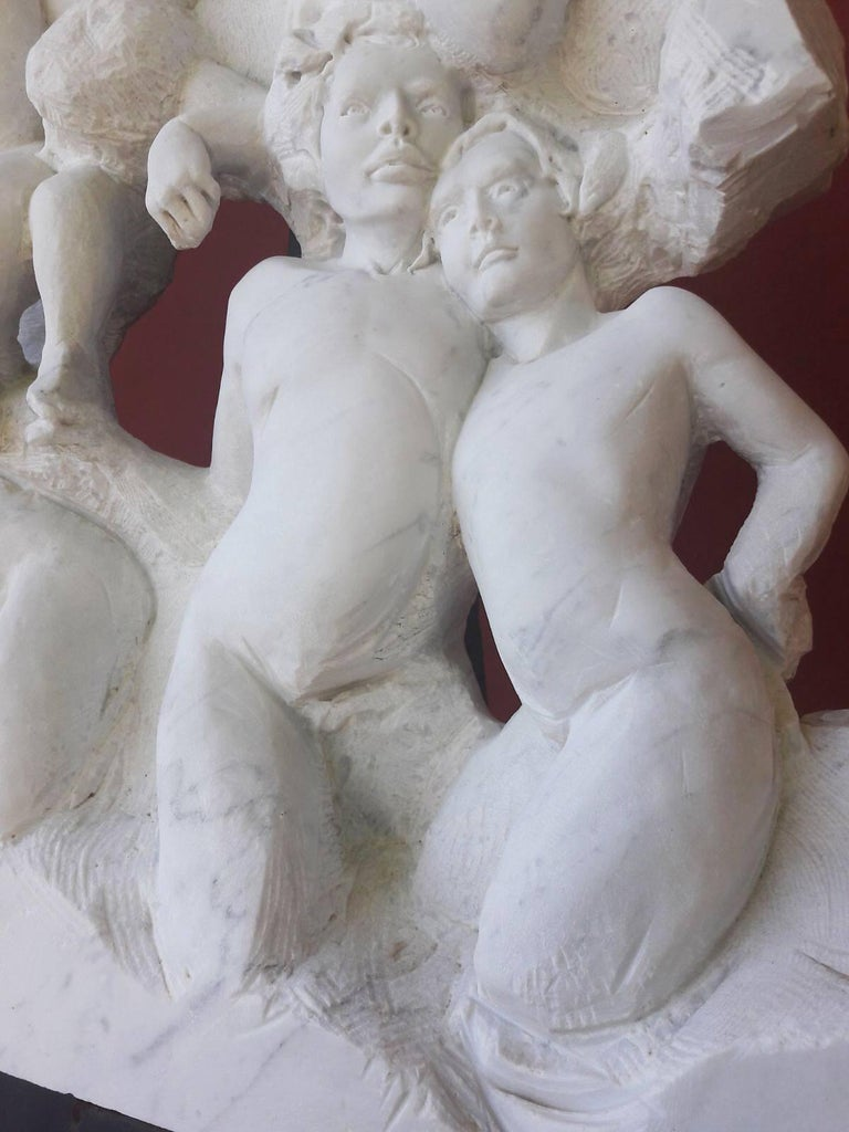 Danza ( Dance ) - hand carved figurative Carrara marble sculpture For Sale 5