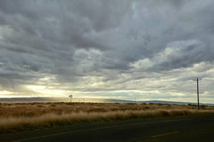 Marfa ( Texas )  - large format photograph of dramatic clouds over endless field