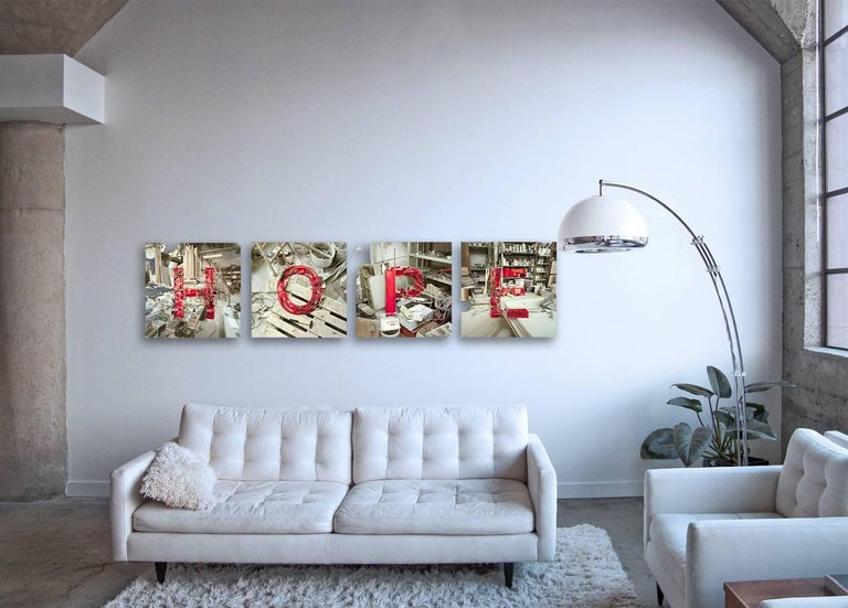 large scale conceptual environmental still life photographs playing with viewer's perspective creating individual letters from found objects spelling the word HOPE  H-O-P-E by Christian Stoll  Incredible details in this body of work: focusing in on