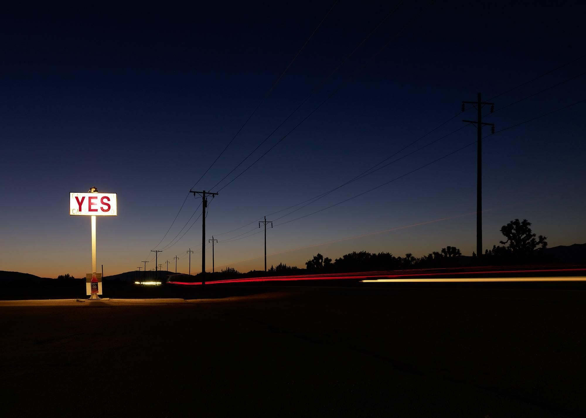 YES (framed) - large format photograph of conceptual motivational sign at night