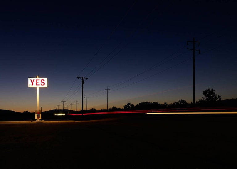 Frank Schott Color Photograph - YES - large format photograph of conceptual motivational message sign at night