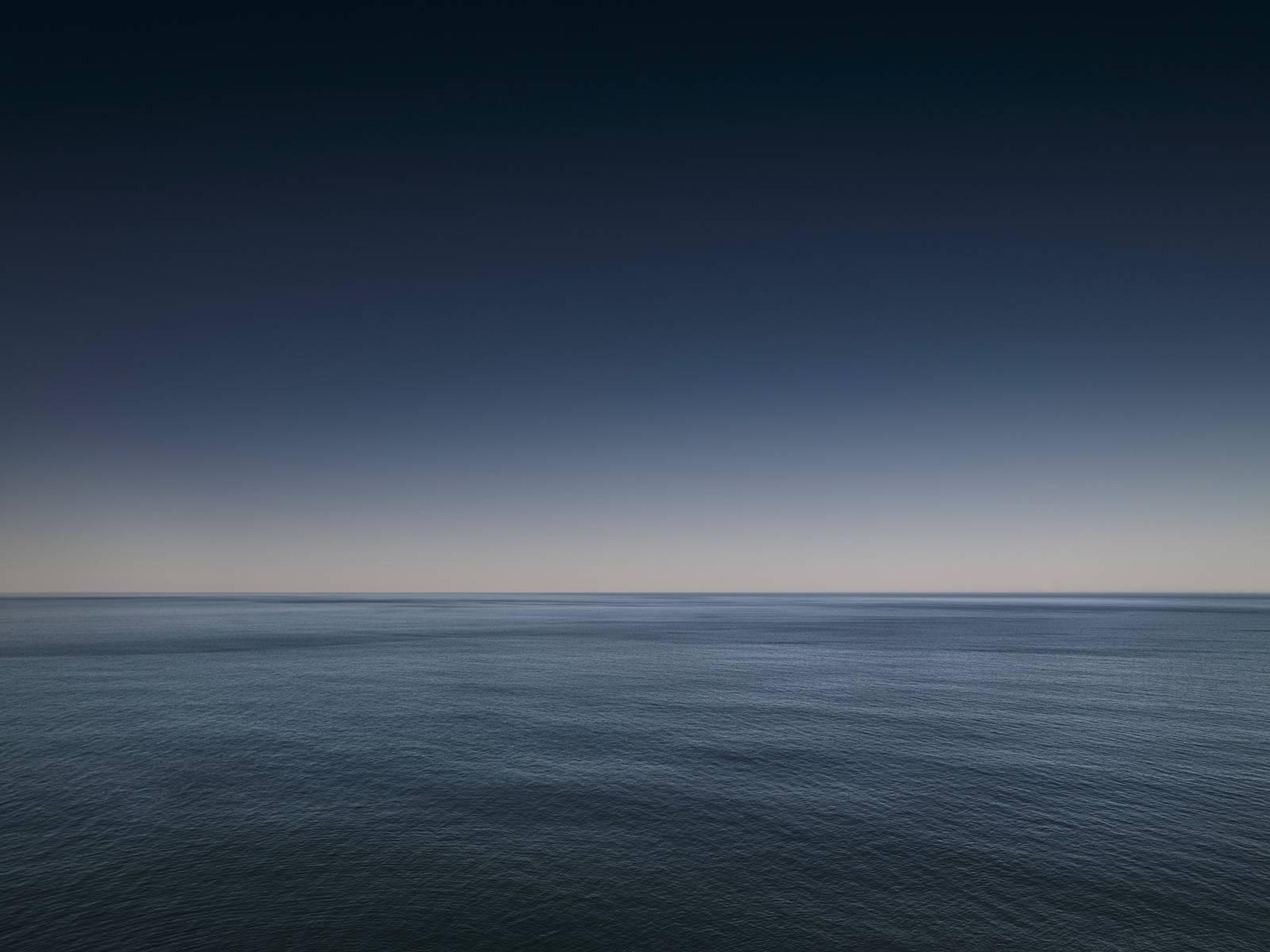 Seascape I - large format photograph of blue tone horizon and sea