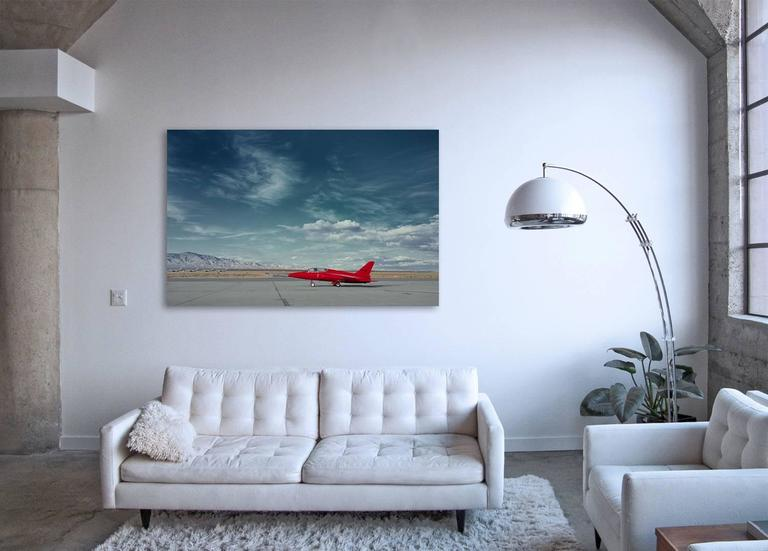 Red Jet - iconic vintage private jet plane on desert airport tarmac (48 x 74