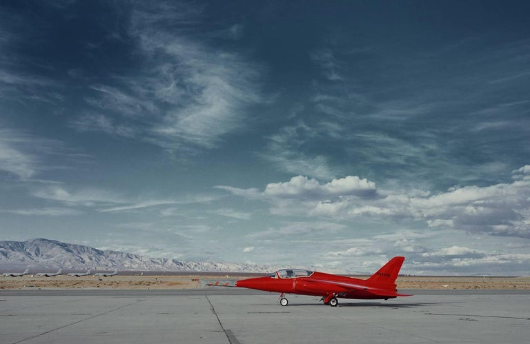 "Frank Schott Color Photograph - Red Jet - iconic vintage private jet plane on desert airport tarmac (48 x 74"")"
