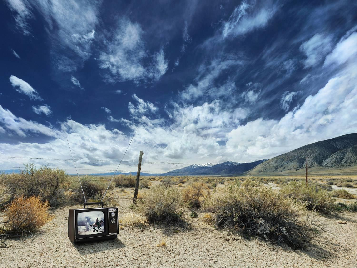 Cowboy TV - large format photograph of iconic western in American landscape