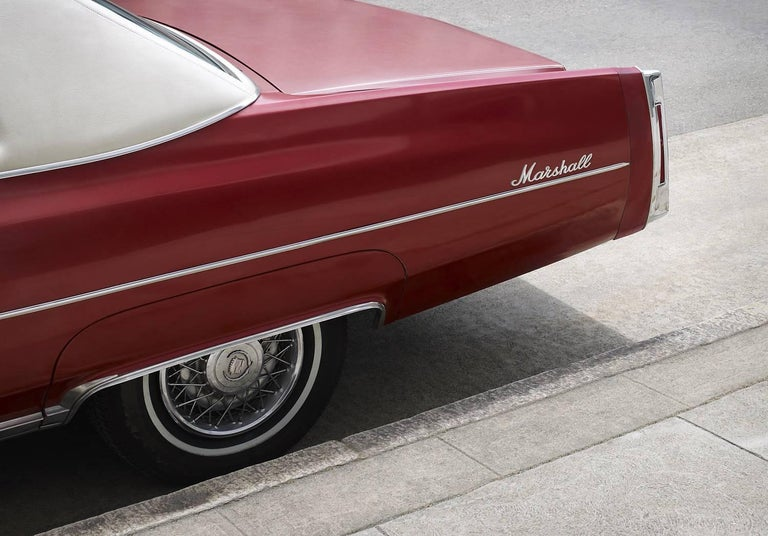 Frank Schott Print - Marshall - large format photograph of iconic cherry red Cadillac automobile
