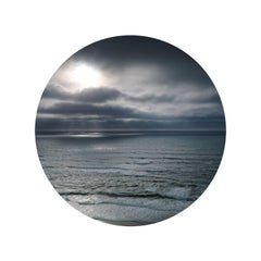 "Seascape II bstract ocean cloudscape in circular glass frame (22"" diameter)"