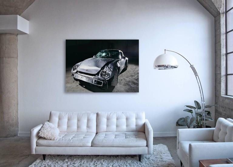 Nine-One-One (Porsche 911) - still life photograph of iconic crashed  automobile - Contemporary Photograph by Frank Schott