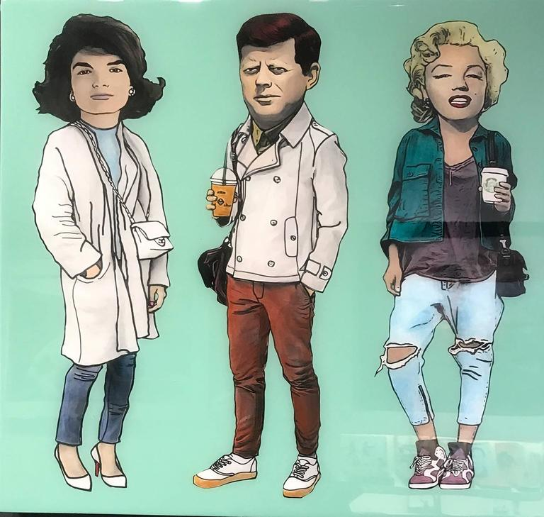 The Producer BDB Portrait Painting - Jackie, JFK, and Marilyn - Avocado Green
