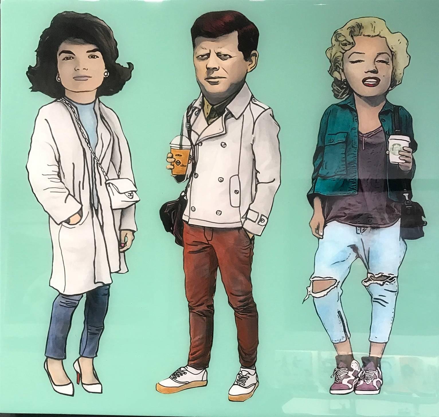 Jackie, JFK, and Marilyn - Avocado Green
