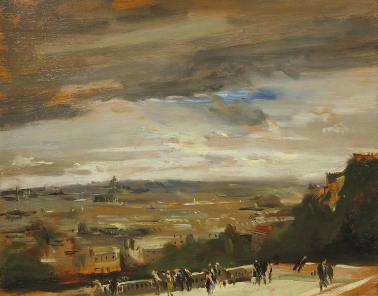 David Levine Landscape Painting - View from Sacre Coeur