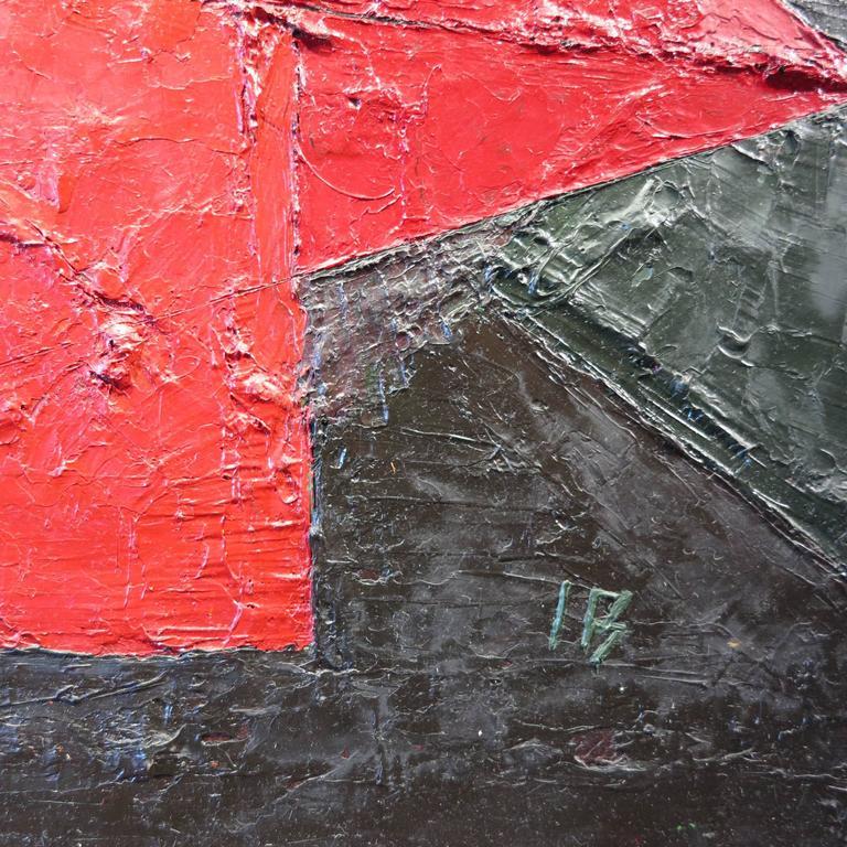 Figura Roja, Fondo Verde - Painting by Ines Bancalari
