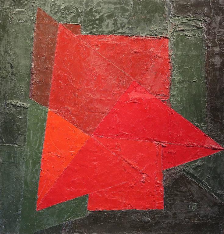 Ines Bancalari Abstract Painting - Figura Roja, Fondo Verde