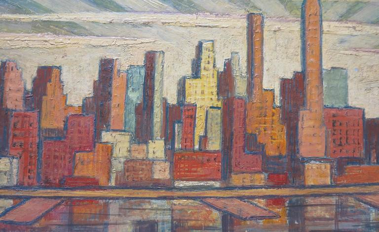 Beautiful c.1950 dynamic Manhattan skyline painting by American artist, Laurence Christie Edwardson (1904-1995). Oil on panel measures 8 x 20 inches; 12 x 24 inches framed. Signed lower right. No damage or restoration.   Laurence Christie