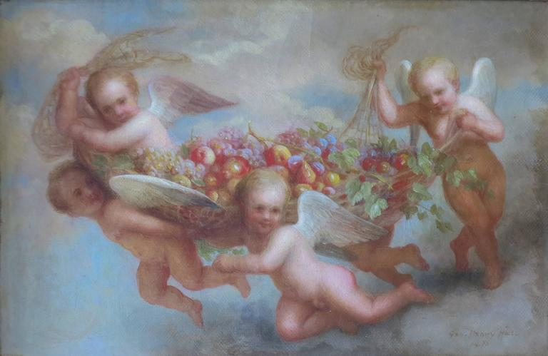 George Henry Hall Figurative Painting - Cherubs
