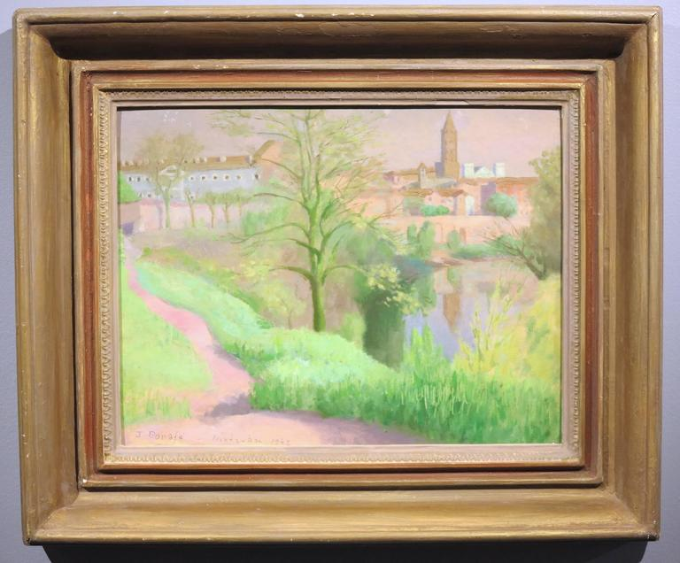 Beautiful Post-impressionist oil painting by Peruvian artist, Juan Bonafe (1901-1969). Montauban, 1942. Oil on paper mounted to illustration board. Measures 12.5 x 16 inches; 18.5 x 22.5 inches in a vintage frame of the period. Signed, titled and