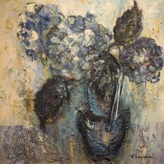 Blue Hydrangeas (abstract Impressionist Japanese floral still life painting)
