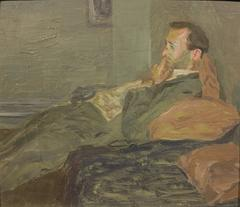 In Contemplation (Impressionist portrait of a young man)