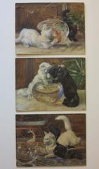 The Goldfish Bowl (Victorian Black and White cats painting)