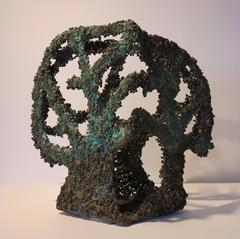 Three-sided Tree (Brutalist biomorphic organic abstract bronze sculpture)