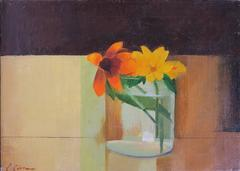 Gloriosa Daisies (modernist floral still life painting)