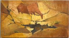 Cow #2 (abstract modernist cubist Asian Singaporean landscape painting)