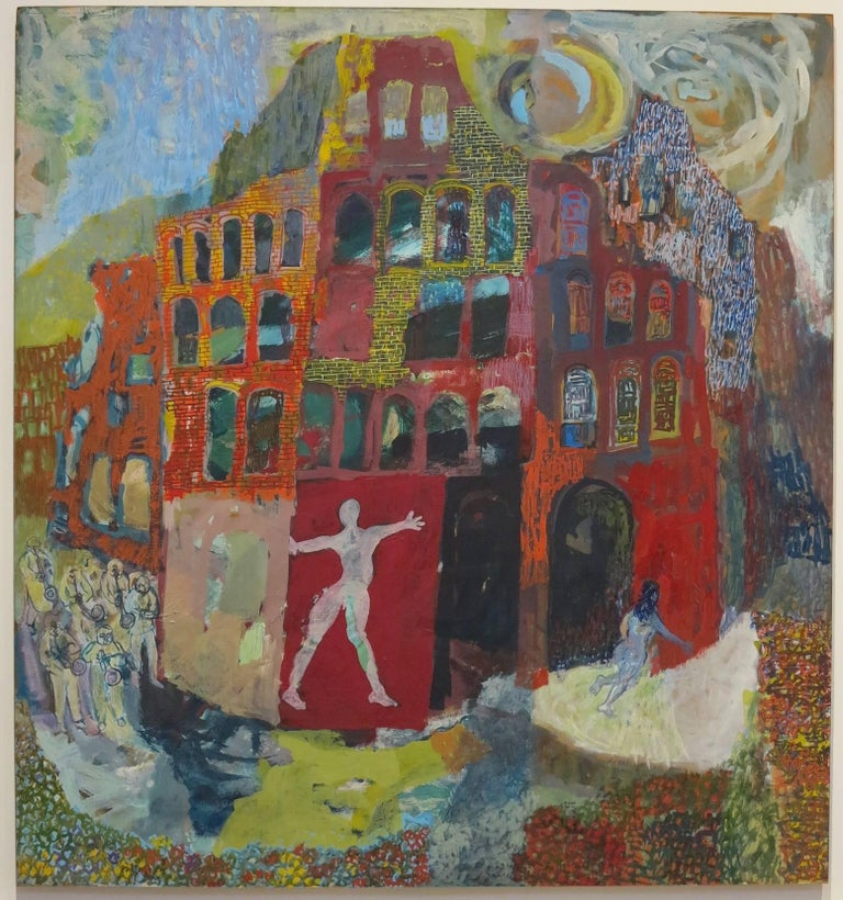 Roland Ayers Abstract Painting - Flight: African American artist surrealist landscape