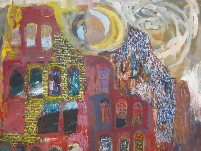 Flight: African American artist surrealist landscape - Surrealist Painting by Roland Ayers