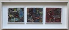 Frammenti di Natura (Italian Art Brut Surrealist triptych painting)