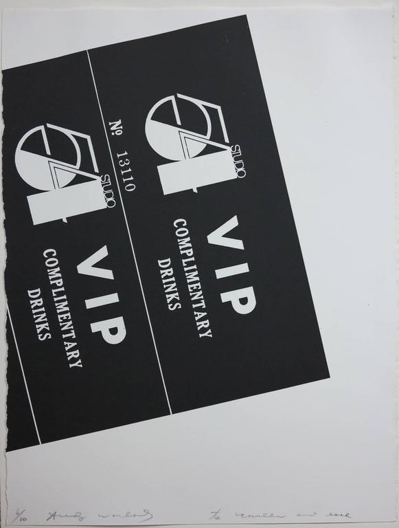 Andy Warhol - Studio 54 Drink Invitation (Pop Art litho Earl McGrath provenance) 1
