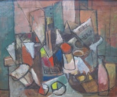After the Party (cubist still life painting)