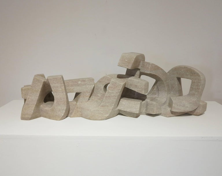 Untitled (pink granite abstract stone sculpture)