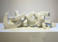 Untitled (white marble abstract sculpture)