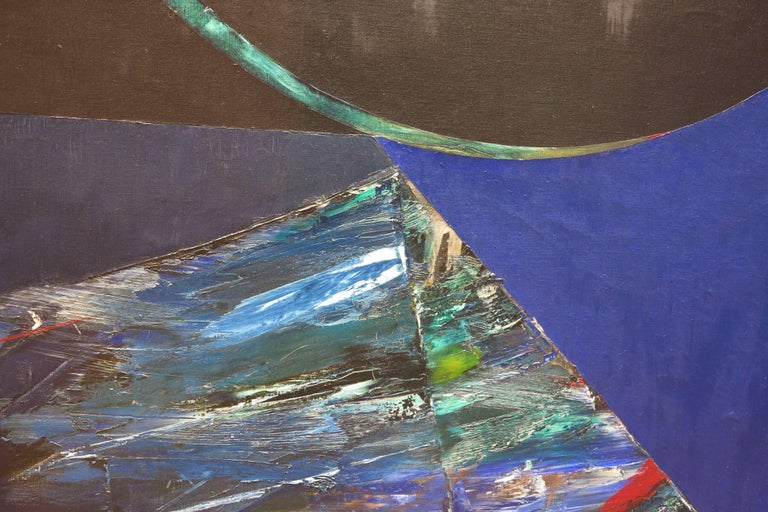 Untitled Blue Abstract - Gray Abstract Painting by Budd Hopkins