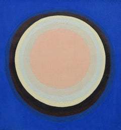 Untitled (Blue. black. pink concentric circle abstract painting)