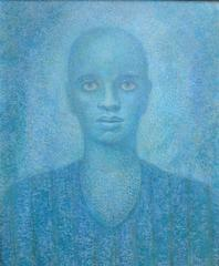 Lucky in Blue (portrait of a black man oil painting)