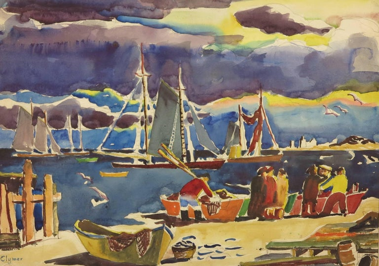 Beautiful c.1920's abstract painting by American artist, James Floyd Clymer (1893-1982). Provincetown Fishermen, c.1920's. Watercolor on paper measures 15 x 21 inches; 19 x 29 matted No frame. Signed lower left. Excellent condition with no damage or