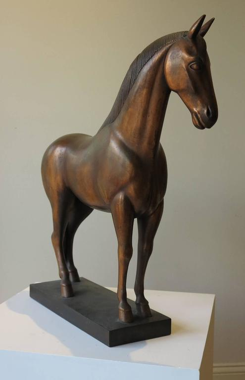 Waylande Gregory (1905-1971). Stallion, 1936. 24.5 inches high; 23 inches long; 5.5 inches wide. Hand tooled copper sheeting over composite. Original vanished patina. Two small areas of very minor repair on ear and neck. This piece is an original,