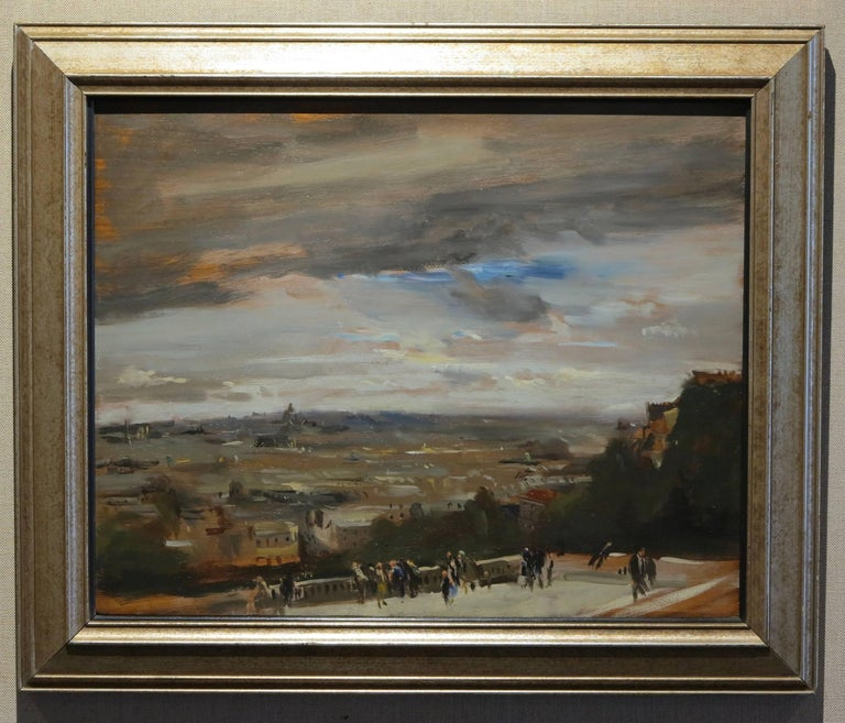 David Levine (1926-2009). View from Sacre Coeur, 1961. Oil on wood panel, 16 x 20 inches; 2o x 24 inches framed. Signed and dated en verso. Davis Galleries label affixed en verso. Excellent condition with no damage or restoration. 