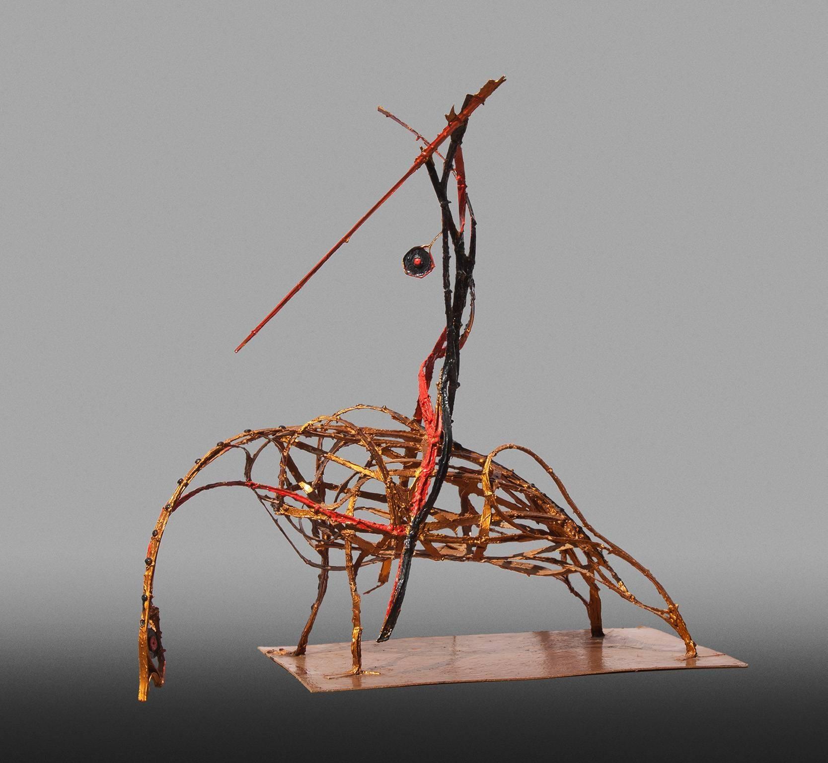 Picador (Bullfighter) - Resin and Metal Orange Sculpture of a Bullfighter