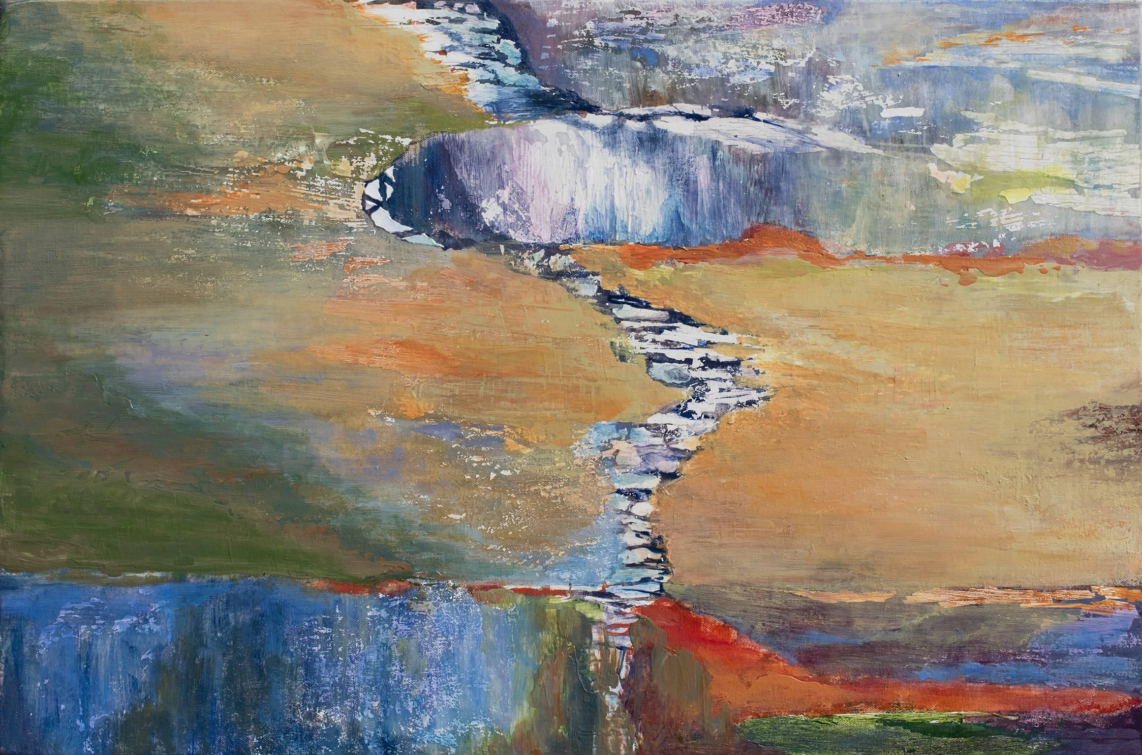 High Falls Redux - Abstract Landscape Oil Painting in Yellow, Blue and Green